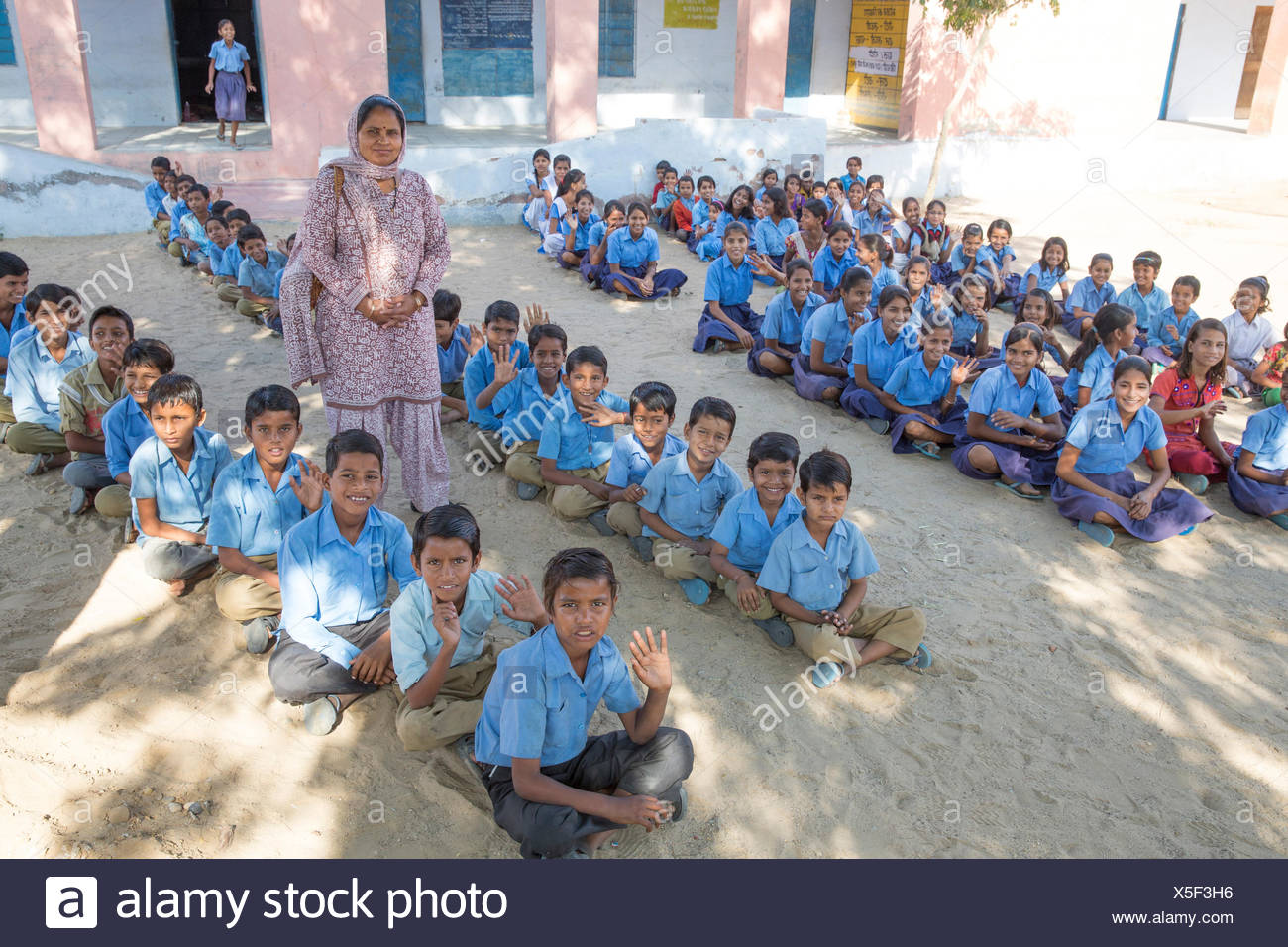 Indisch, Schule, Asien, Indien, Kinder, sitzen, Rajasthan, Stockbild