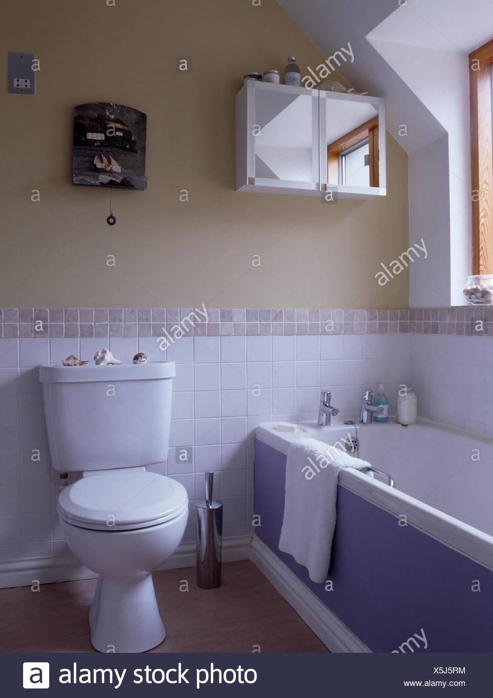 Toilette Und Bad Mit Lila Panel In Kleinen Bad Mit Weissen Fliesen