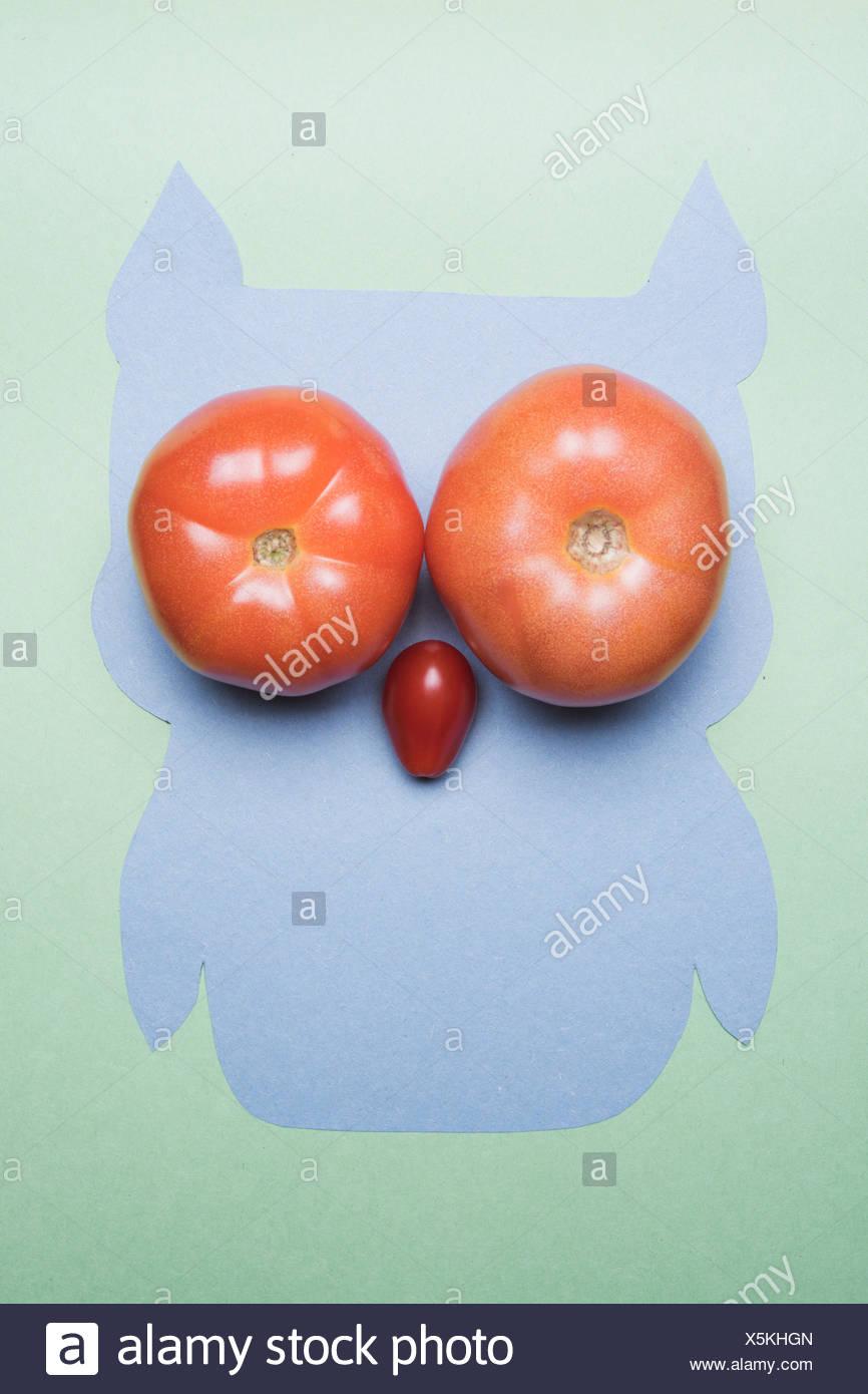 Lustige Eule gemacht mit Tomaten Stockbild