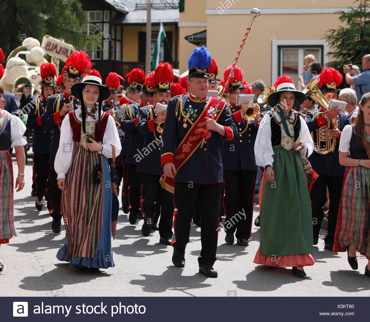 Feuerwehr-Band Strassen, Narzissenfest Narcissus-Festival in Bad Aussee, Ausseer Land, Salzkammergut-Region, Steiermark, Österreich Stockbild