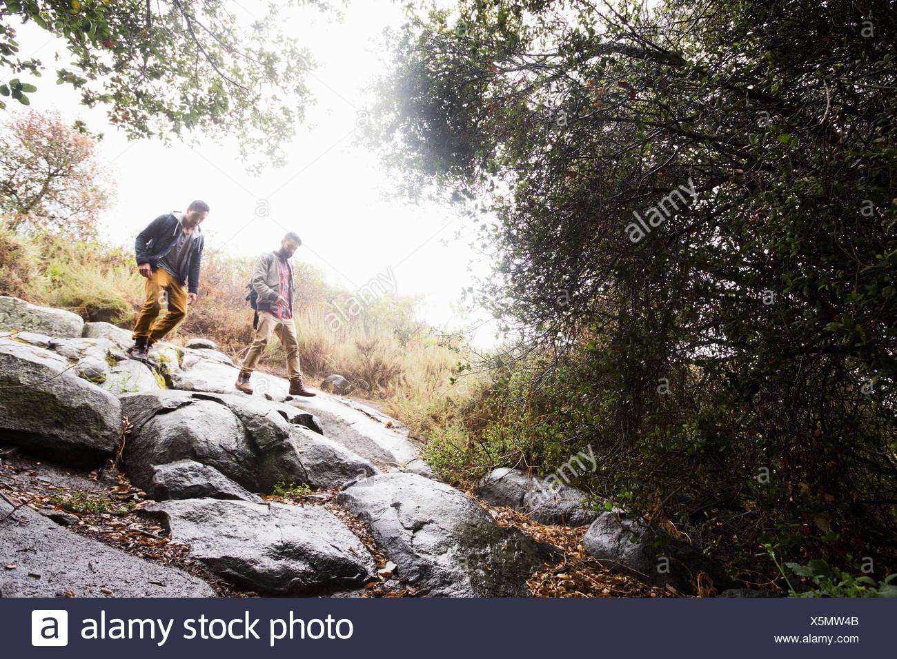 Zwei junge Männer tragen Rucksäcke Wandern Stockbild