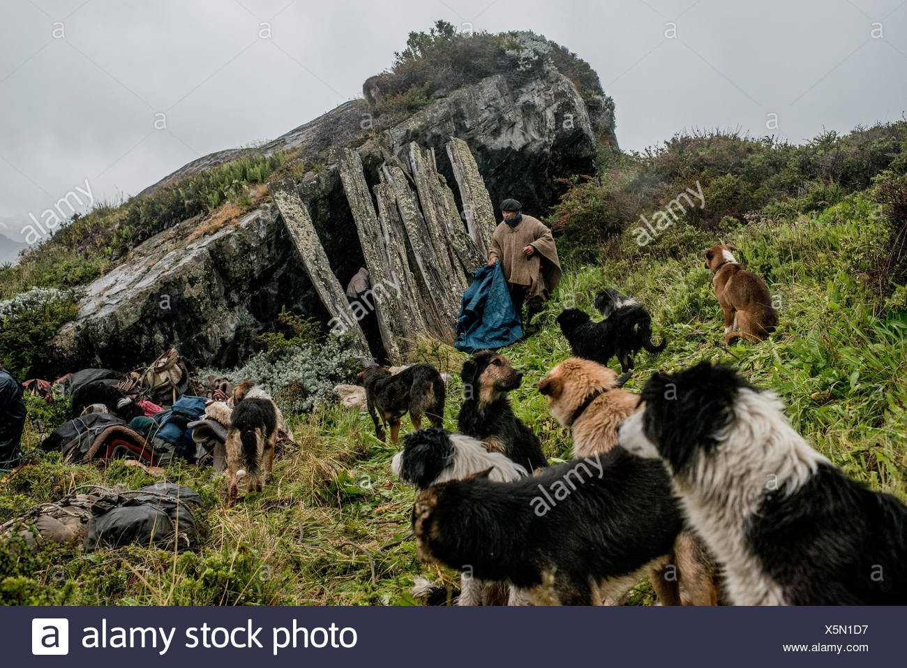 Gauchos finden eine alte Unterschlupf unter einem Felsbrocken, die Nacht auf dem Weg nach Sutherland in Halbinsel Antonio Varas verbringen. Stockbild