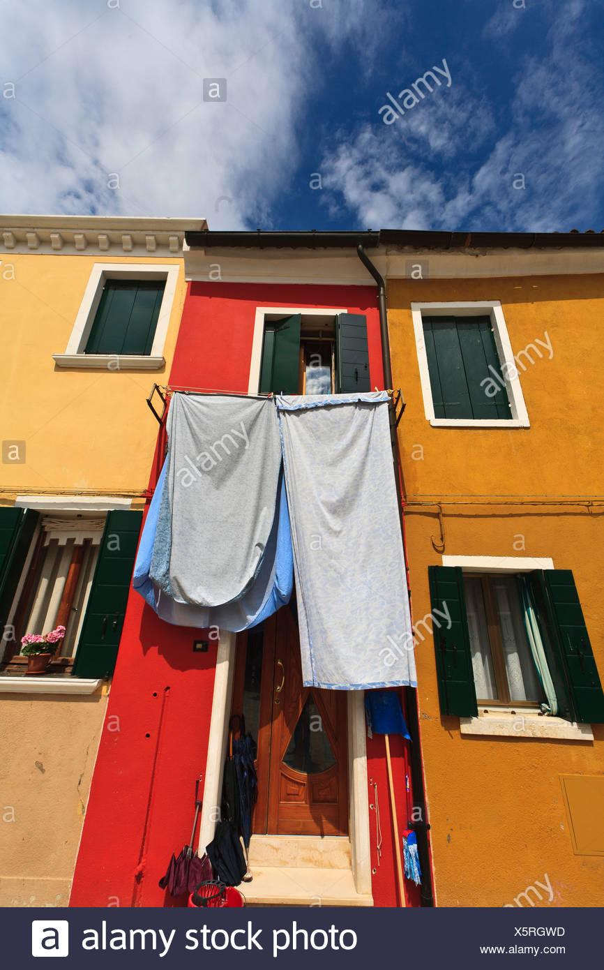 Burano, Insel, Venedig, bunt, Häuser, Europa, Italien, Waschtag ...