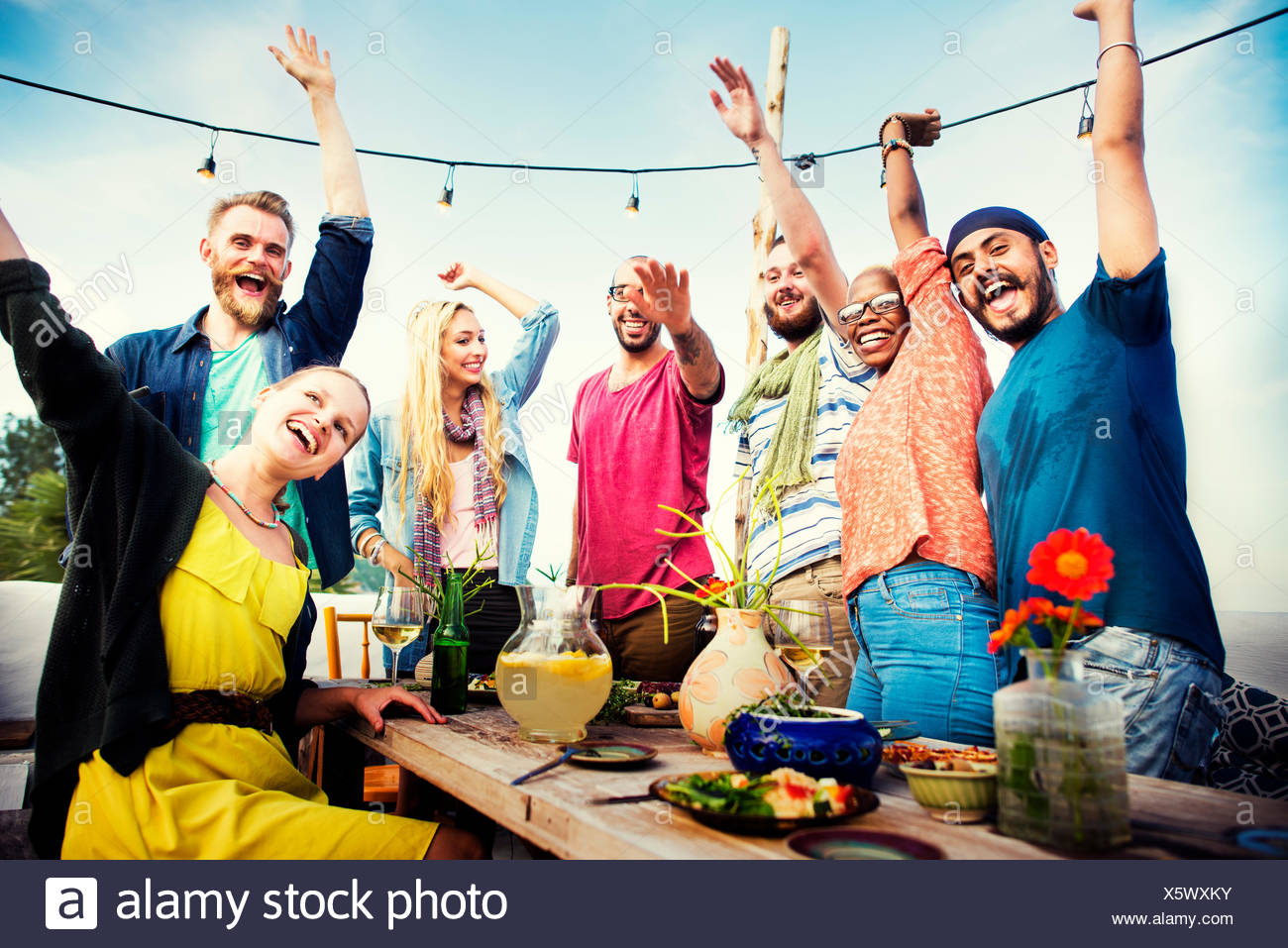 Strand Sommer Dinner Party Feier Konzept Stockbild