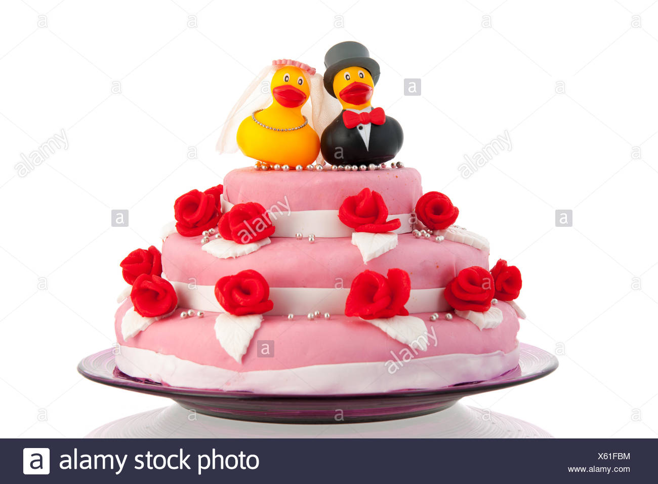Hochzeitstorte Mit Paar Lustige Enten Stockfoto Bild 279087864 Alamy