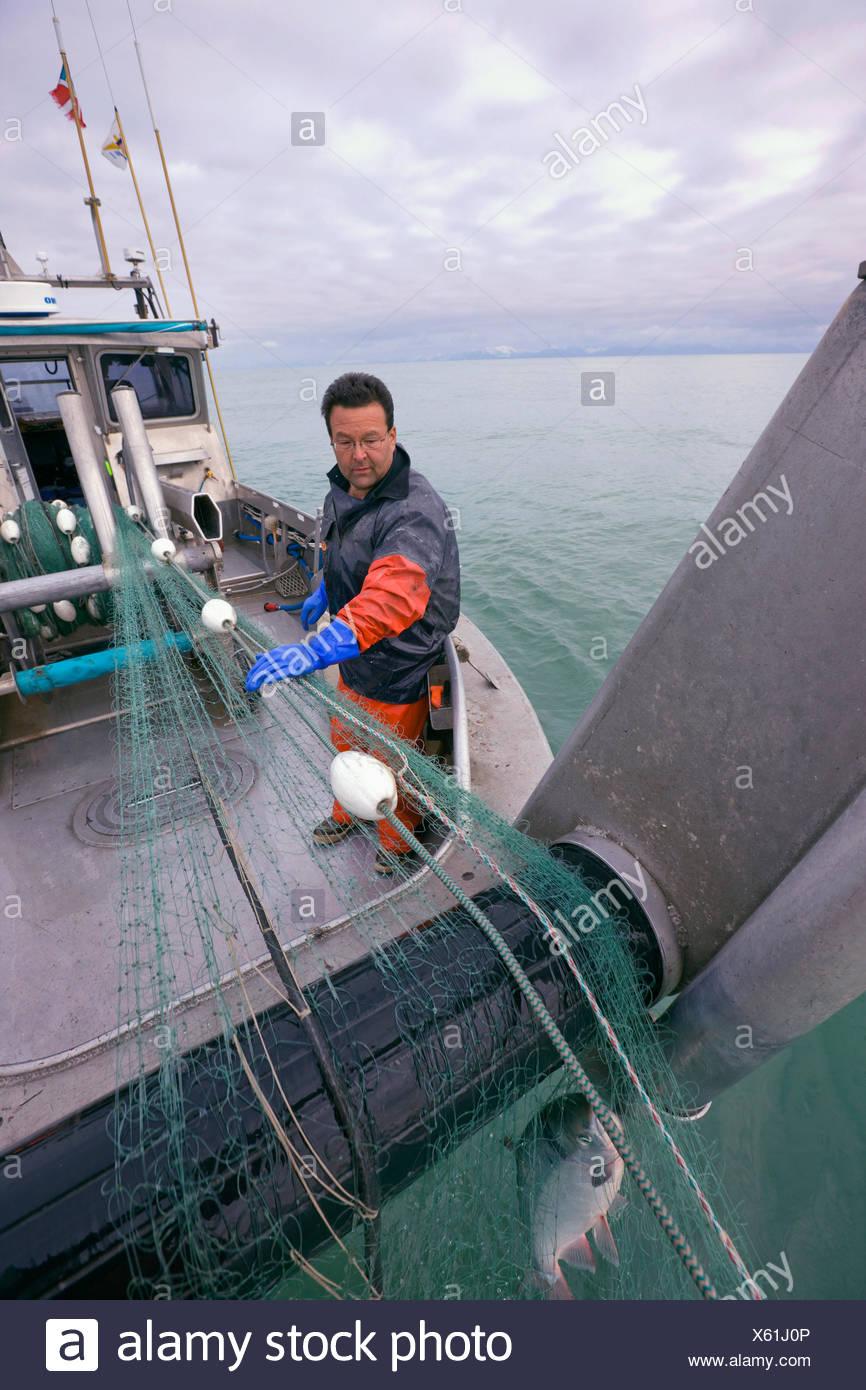 40er Jahre, Erwachsene, Alaska, Blue Collar, Boot, fangen, gefangen Stockbild