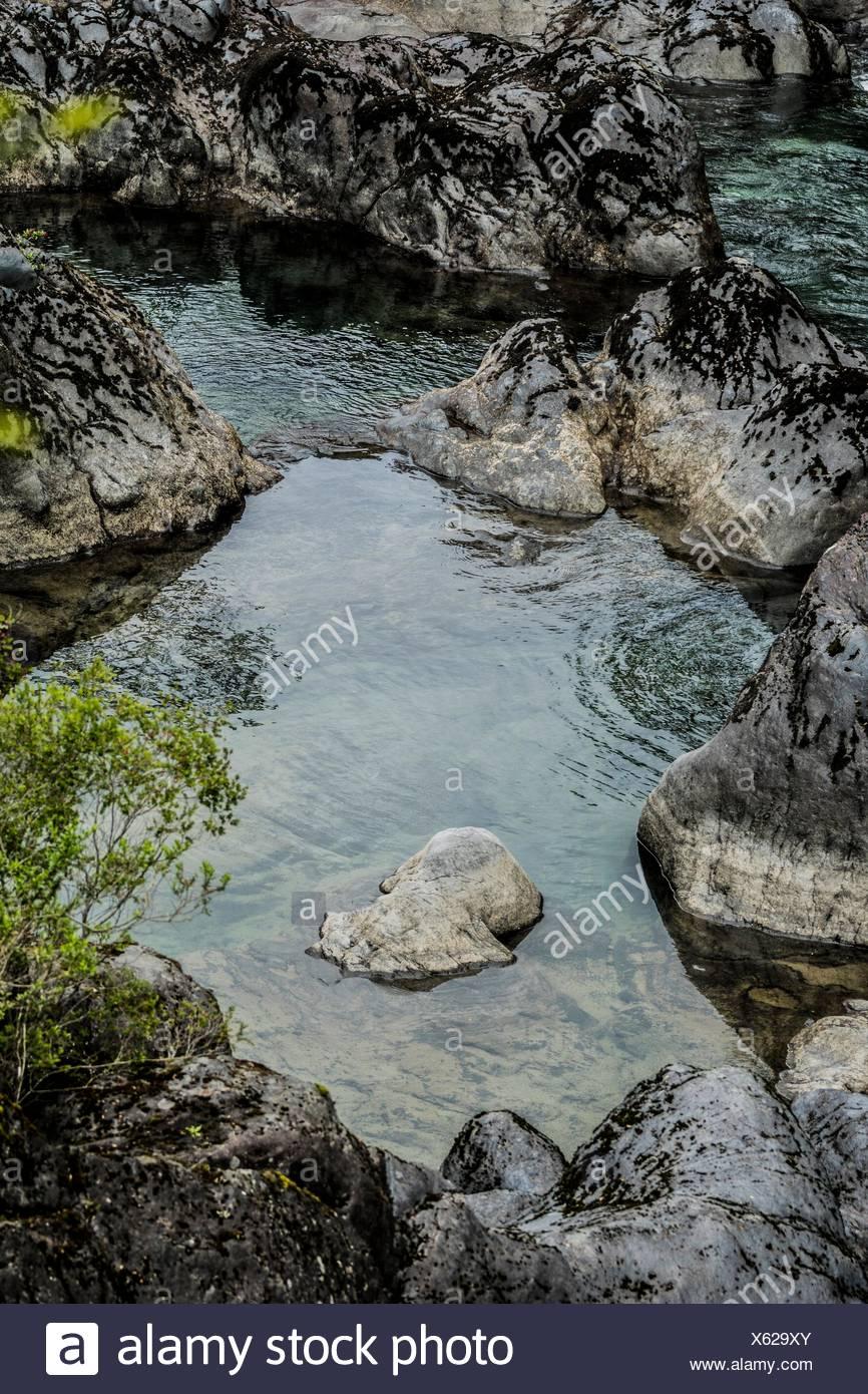 Petrohué Wasserfälle, Vicente Perez Rosales National Park (Parque Nacional Vicente Peréz Rosales), Lake District, Puerto Varas und Puerto Montt, Patagonien, Stockbild