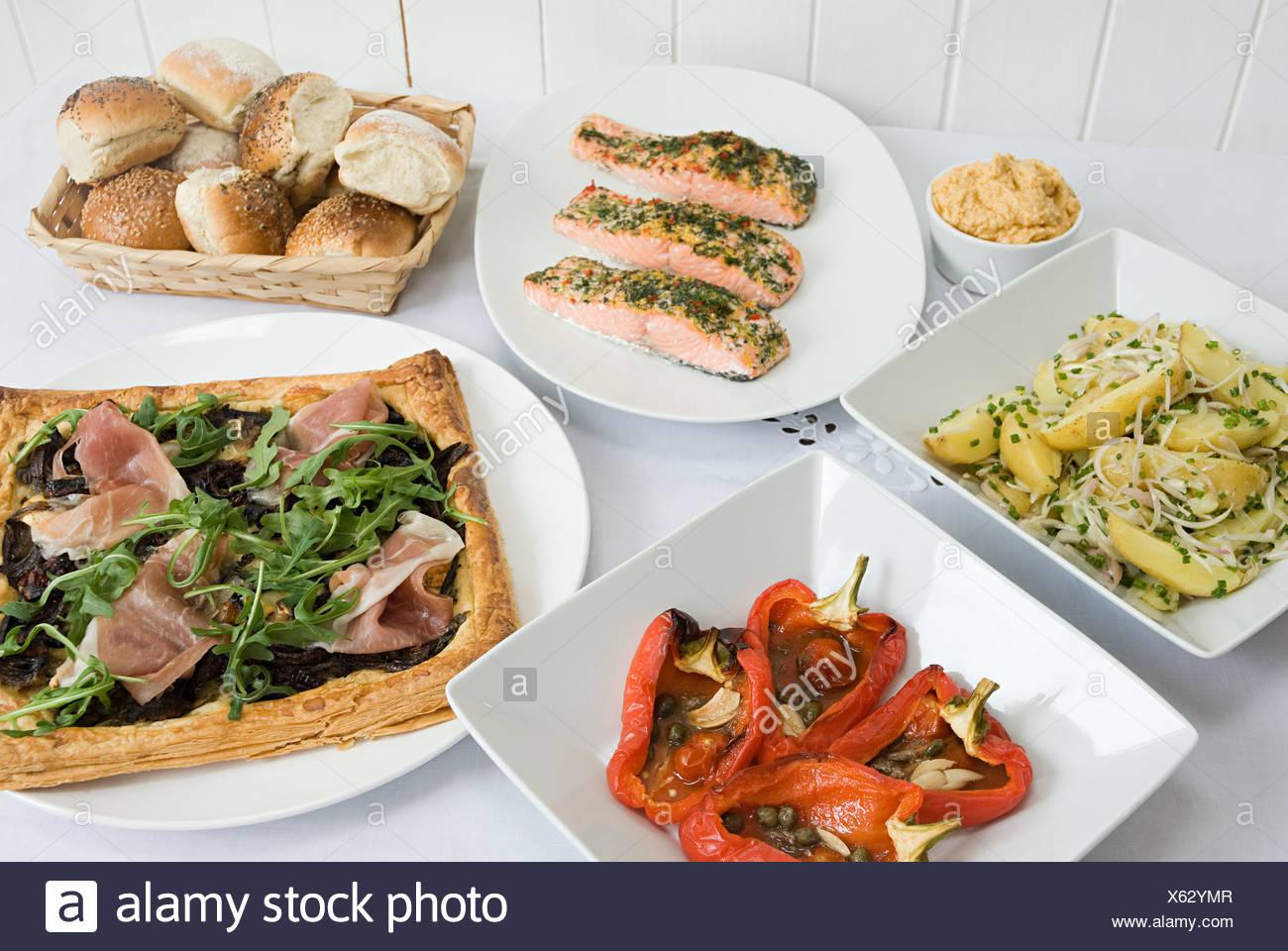 Auswahl an Gerichten Stockbild