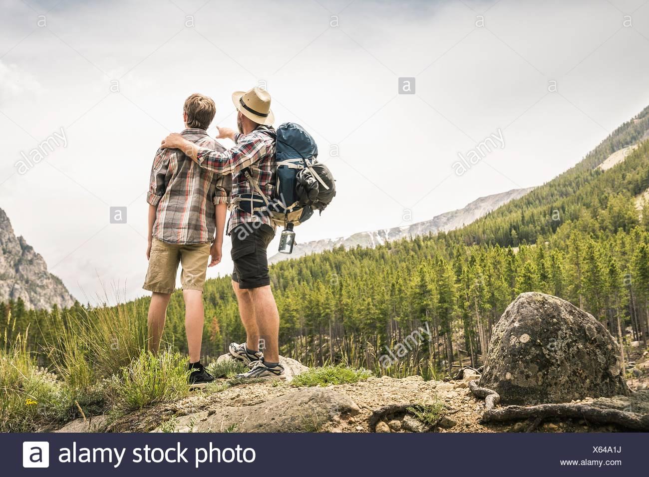 Rückansicht von Vater und Sohn, trekking, wegschauen im Blick, Red Lodge, Montana, USA Stockbild