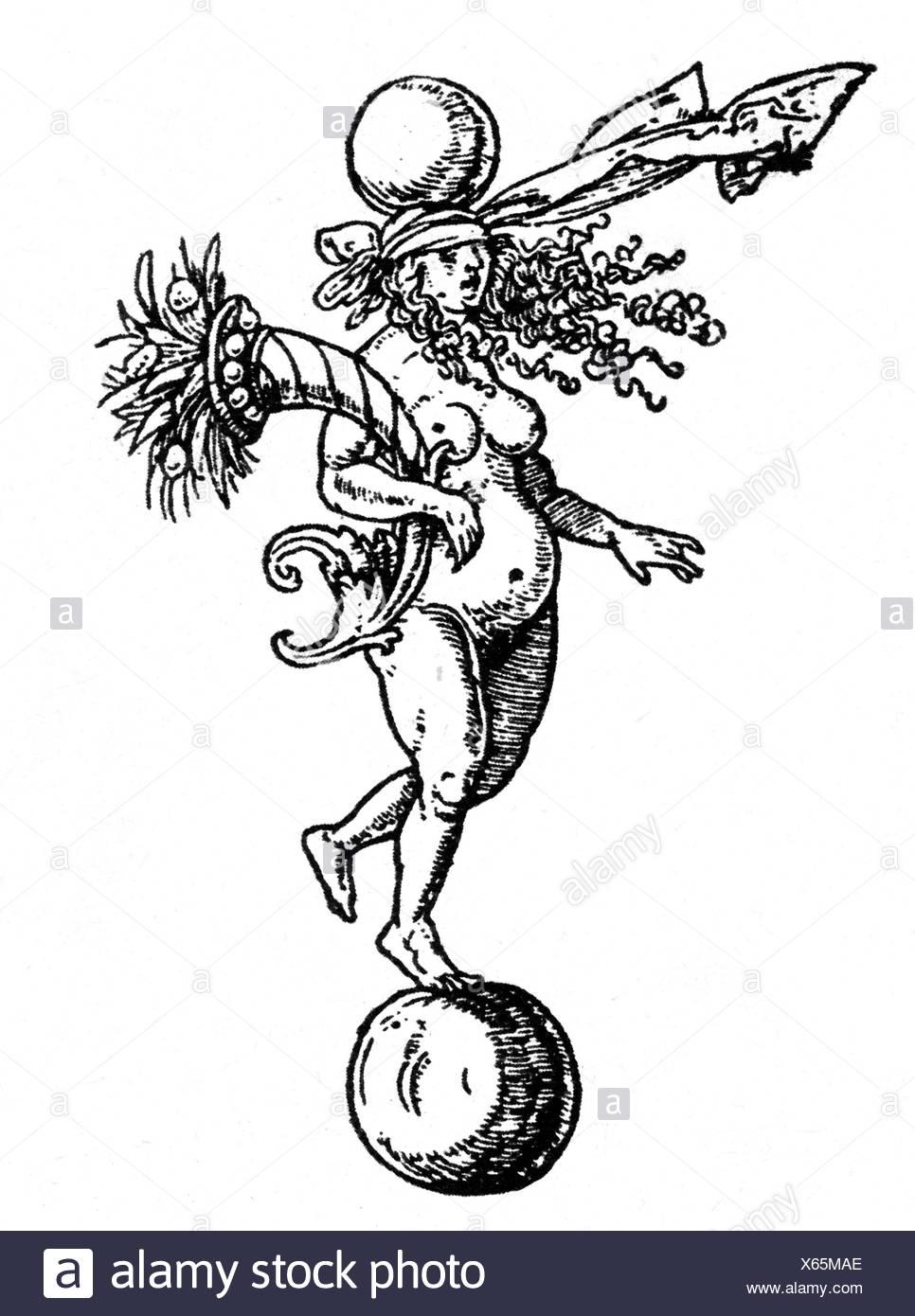 Fortuna, römische Göttin Fortuna, Holzschnitt von Albrecht Dürer (1471 - 1528), Artist's Urheberrecht nicht gelöscht werden Stockbild