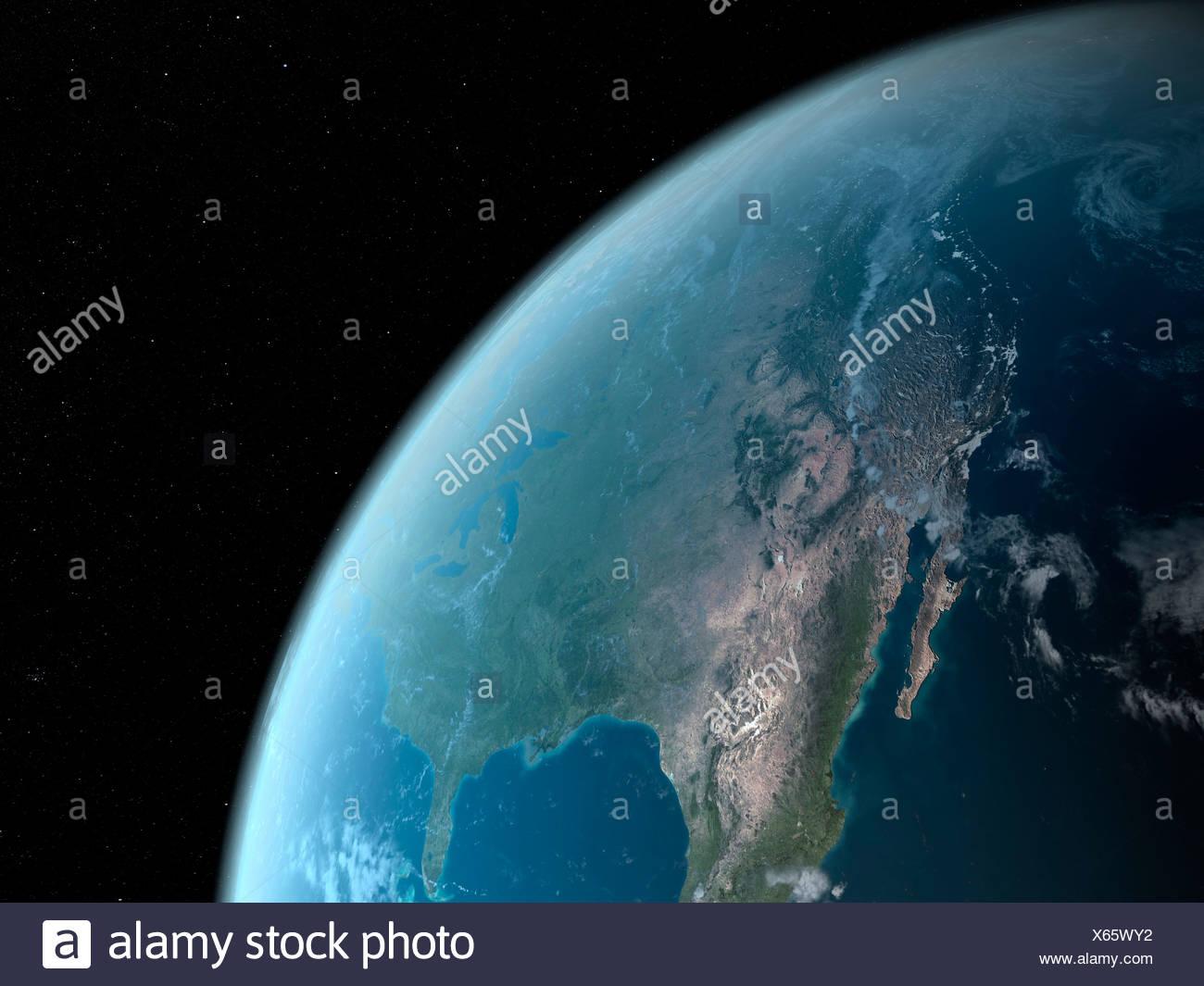 Erde aus dem Weltraum, Kunstwerk Stockfoto