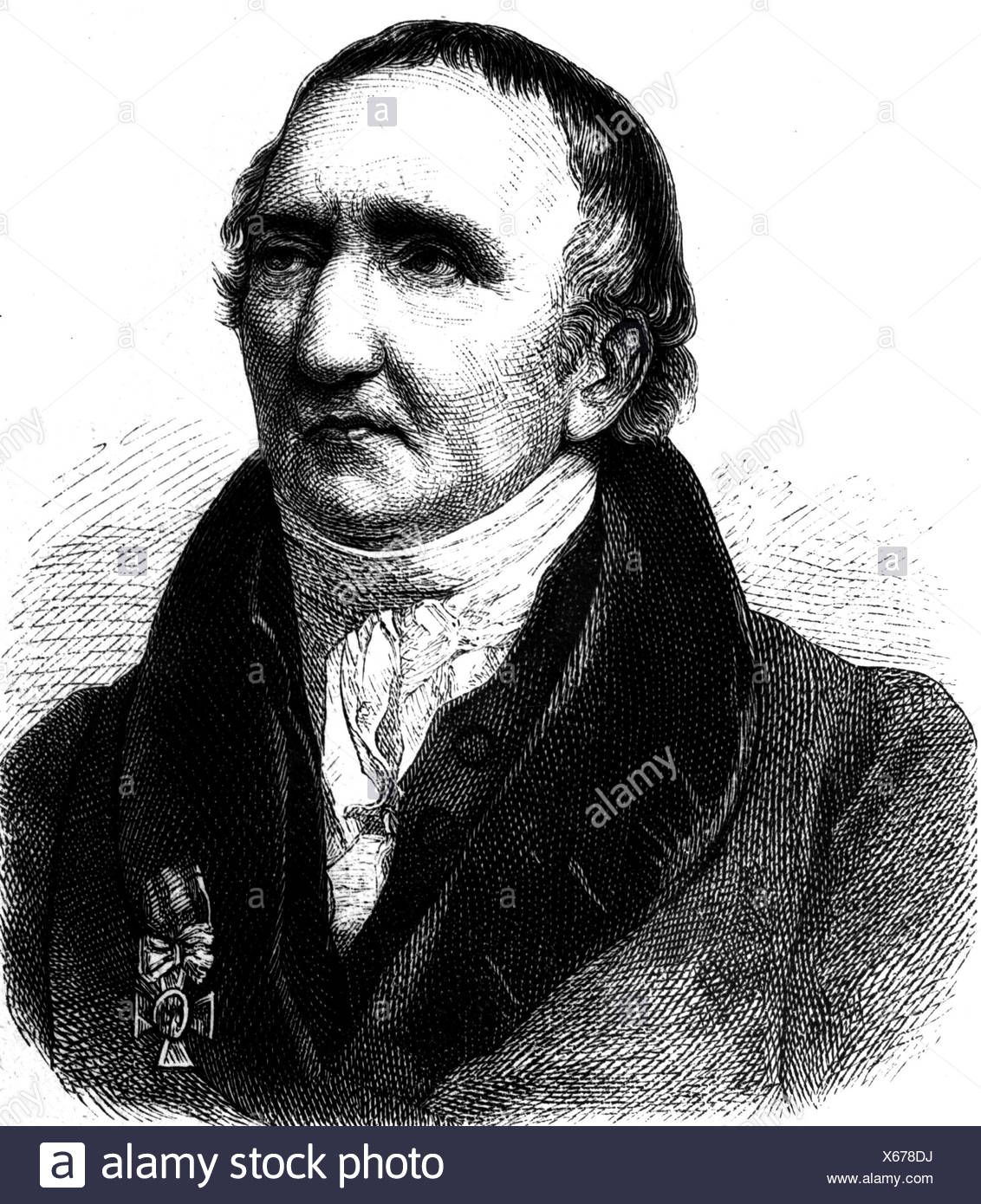 Schadow, Johann Gottfried, 20.5.1764 - 27.1.1850, deutscher Bildhauer, Porträt, Gravur, 19. Jahrhundert, Stockfoto
