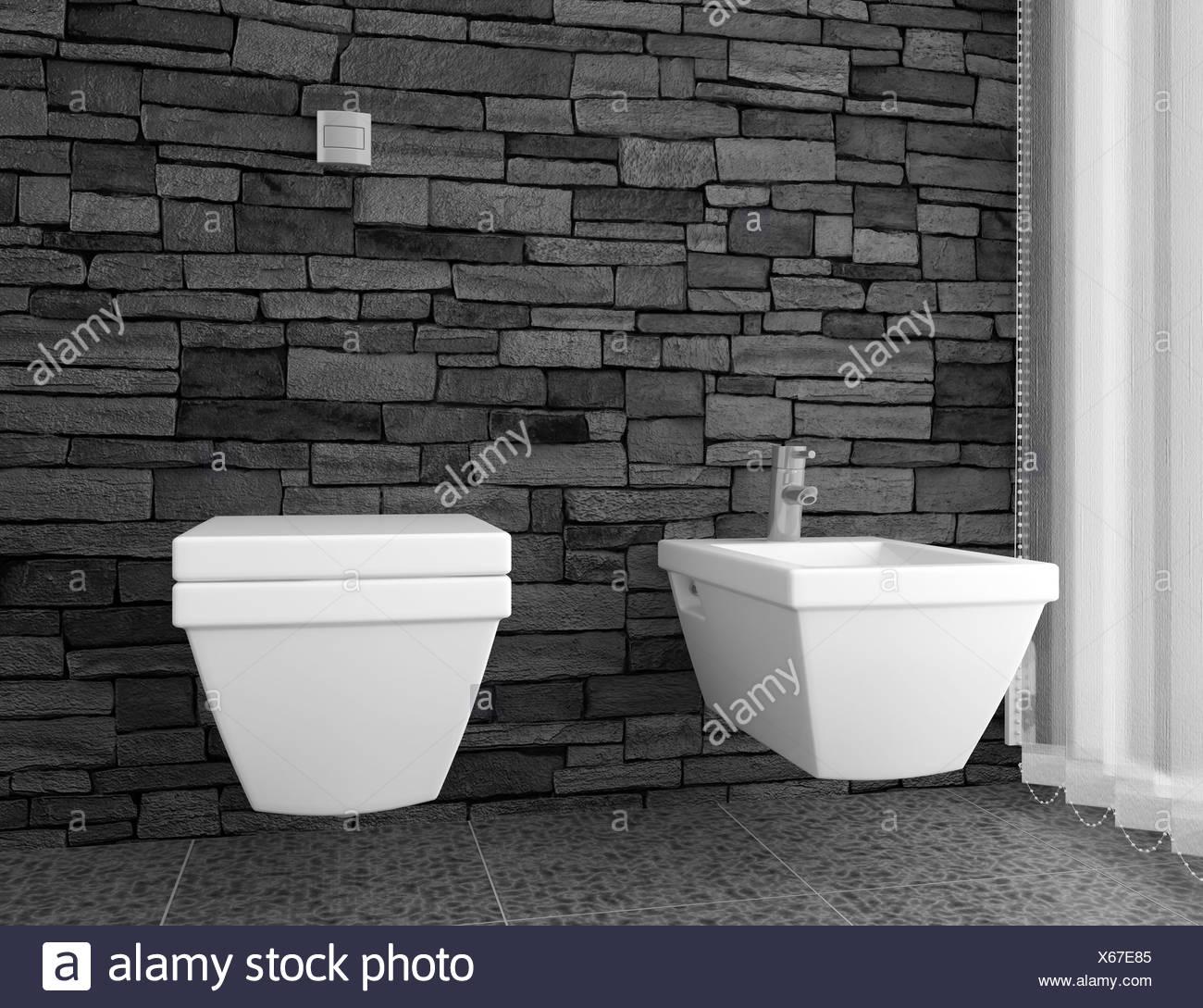 moderne Toilette mit schwarzen Stein Wand Stockfoto, Bild ...