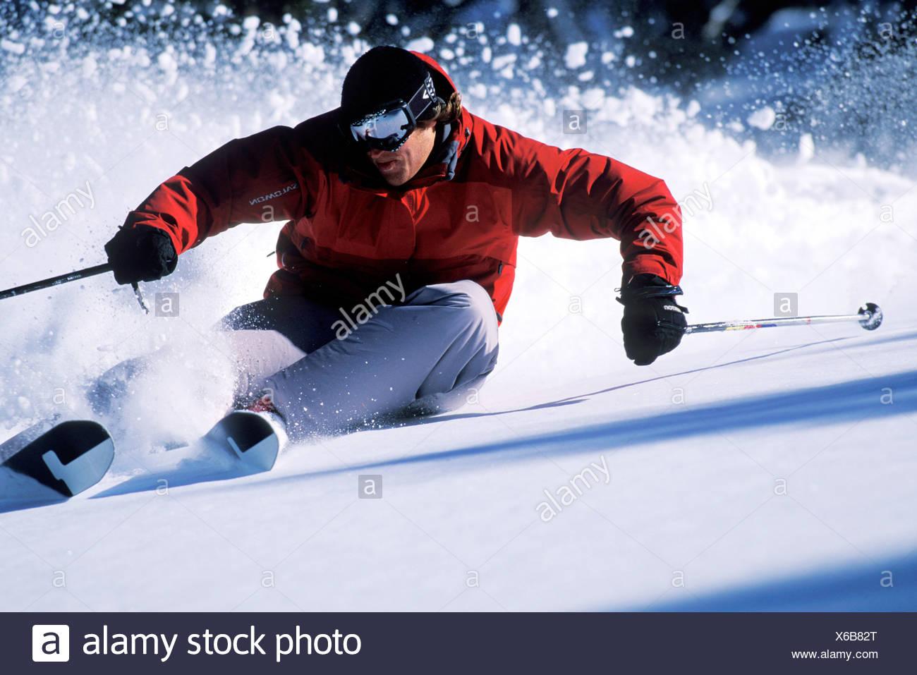 Skifahren in Lake Tahoe. Stockbild