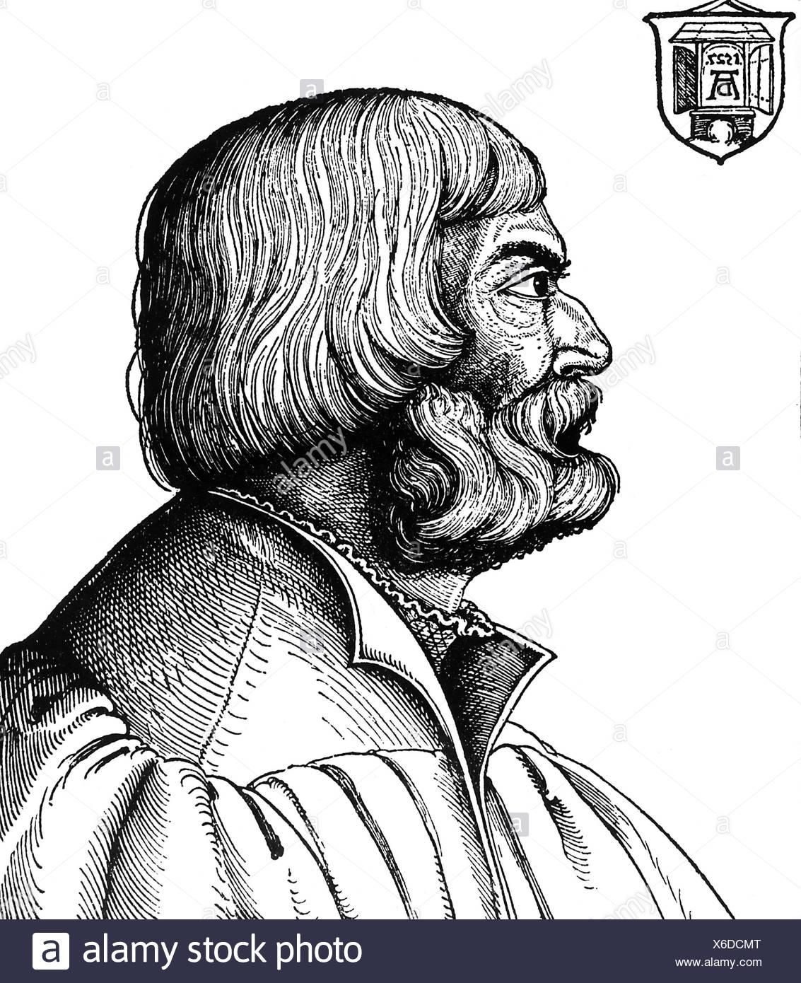Dürer, Albrecht, 21.5.1471 - 6.4.1528, deutscher Maler, zeitgenössisches Porträt, 56, Holzschnitt von Erhard Schön, 1527, Artist's Urheberrecht nicht gelöscht werden Stockbild