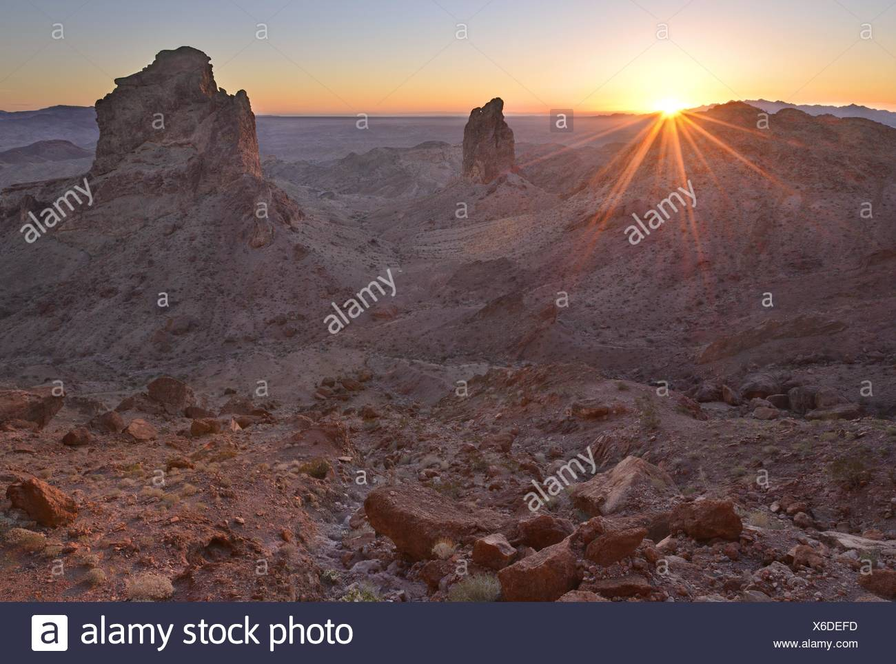 USA, California, Picacho Peak Wilderness, Wächter des Picacho Sonnenuntergang Stockbild