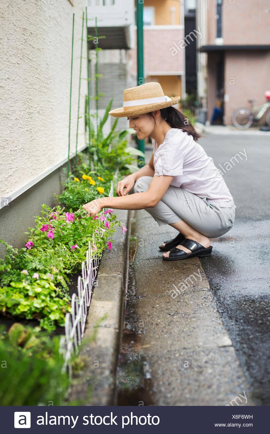 Haus der Familie. Eine Frau hocken und Blumen in einem kleinen Streifen des Bodens Pflanzen. Stockbild