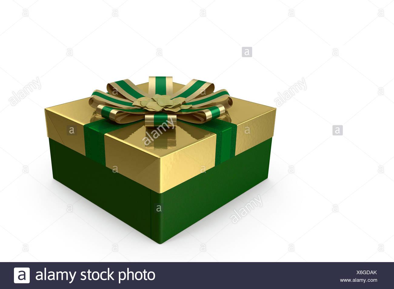 3D-Illustration: Box mit einem Geschenk für den Urlaub. Stockbild