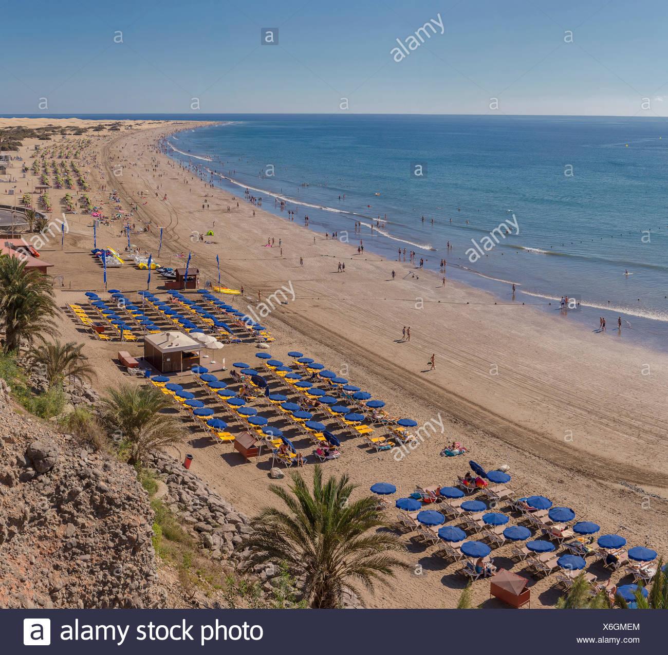 Spanien, Europa, Playa del Ingles, Gran Canaria, Kanaren, Playa de Las Burras, Sommer, Strand, Meer, Menschen, Landschaft, sunsh Stockbild