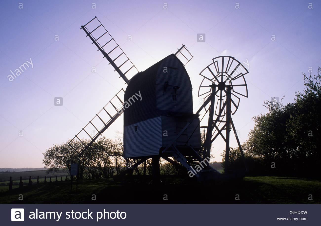 Gt Chishill Windmühle Cambridgeshire silhouette Stockbild