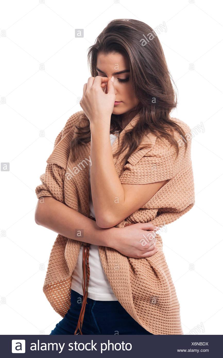 Schönes Modell mit Kopfschmerzen Stockbild
