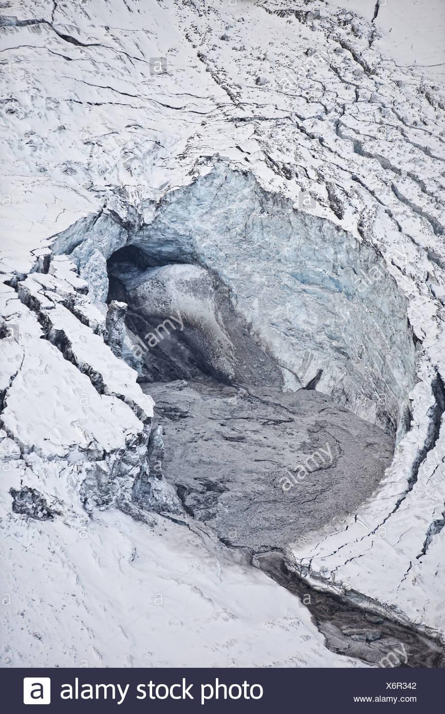 Gigjokull,-Steckdose Gletscher von Eyjafjallajökull.  Rauschenden Wasser und Überschwemmungen wegen Vulkanausbruch Eyjafjallajökull, Island Stockbild