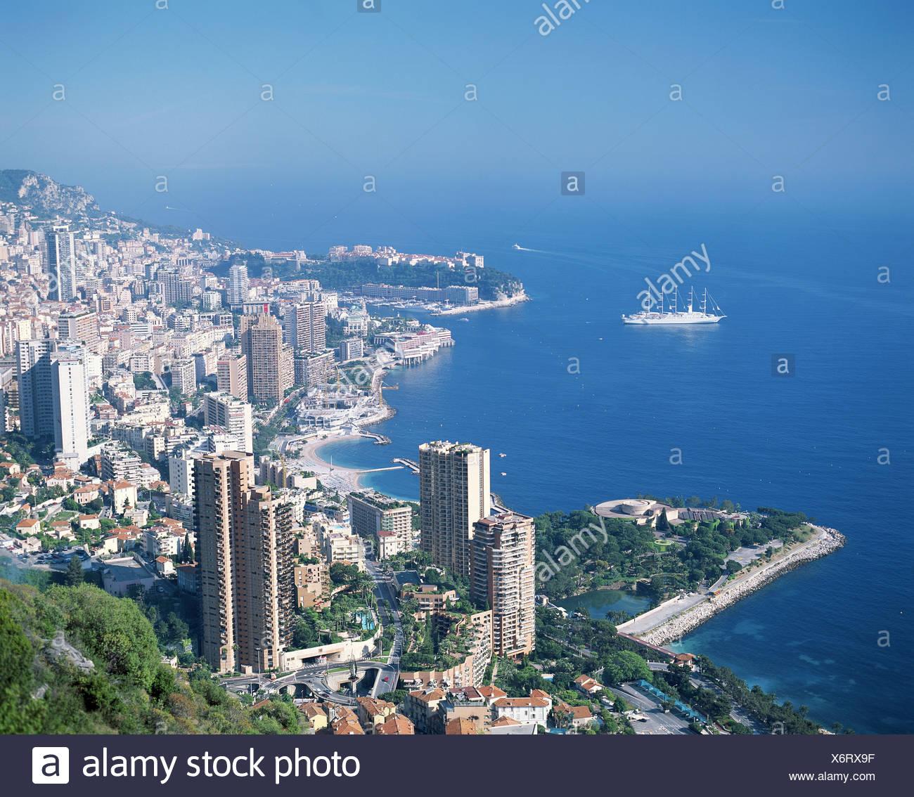 5-Master Lavrotto Monaco Segelschiff Meerblick von Roquebrune-Übersicht Stockbild