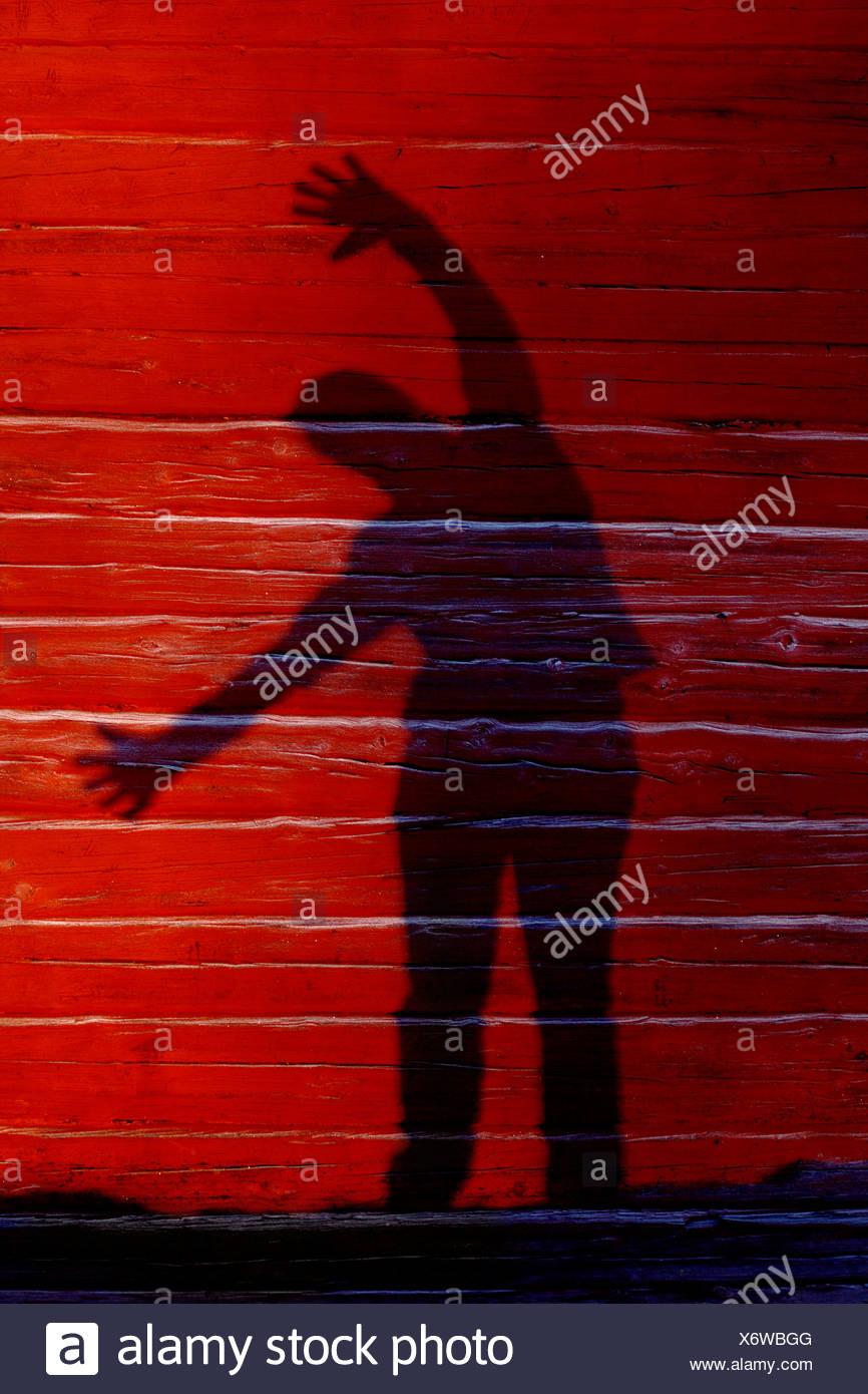 Eine schattenhafte Gestalt auf einer Holzwand, Schweden. Stockbild