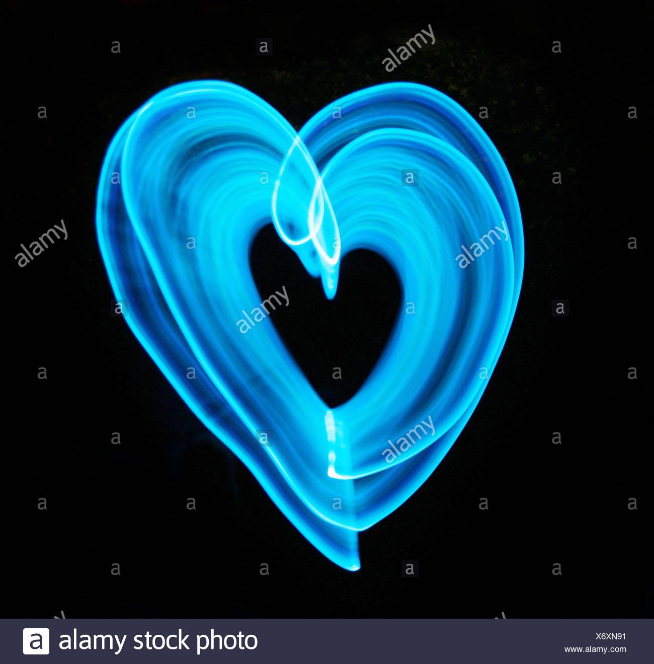 blaues Licht Herz Stockbild