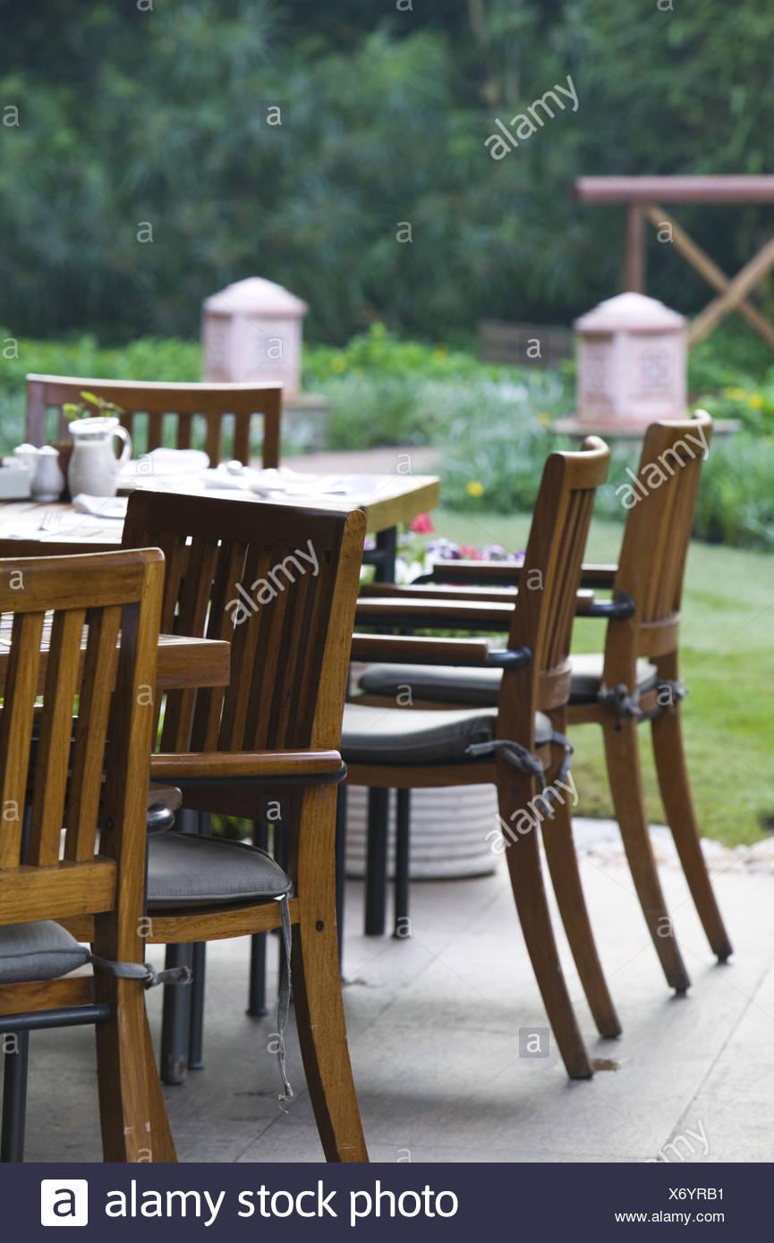 Terrasse Café Tische Stühle Detail Café Pub Garten Garten Terrasse