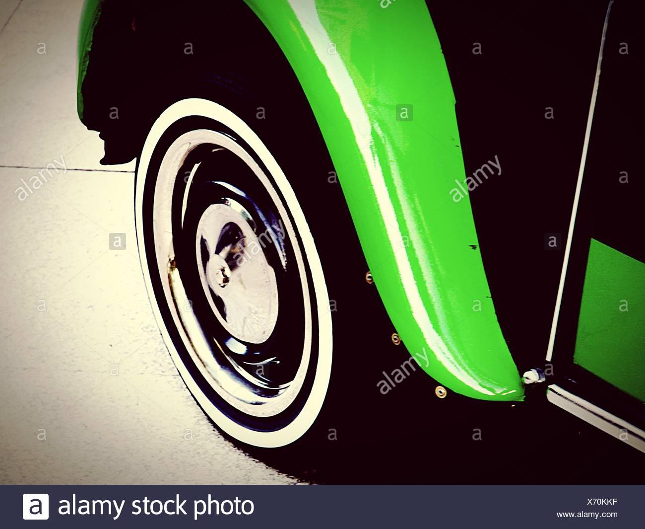 High Angle View Of Green Car Wheel Stockbild