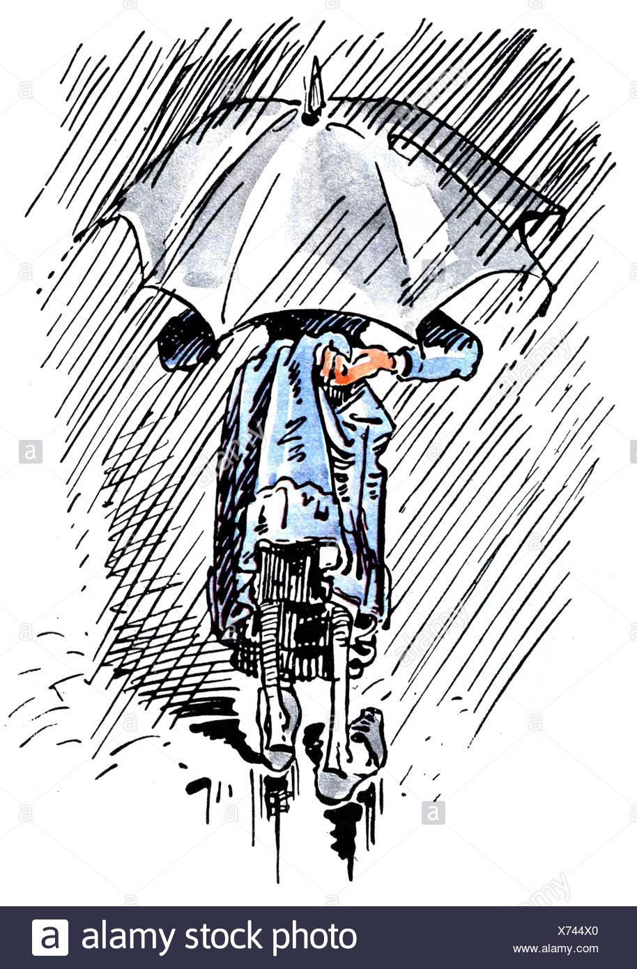 Literatur, Dideldum!, Wilhelm Busch, Truebe Aussicht, regnerischen Wetter, Comic, Deutschland, Frau, Regen, Regen, reapking, Rock, Ausblick, Aussicht, historischen, geschichtlichen, Leute, Frauen, frau, Artist's Urheberrecht nicht geklärt zu werden. Stockbild