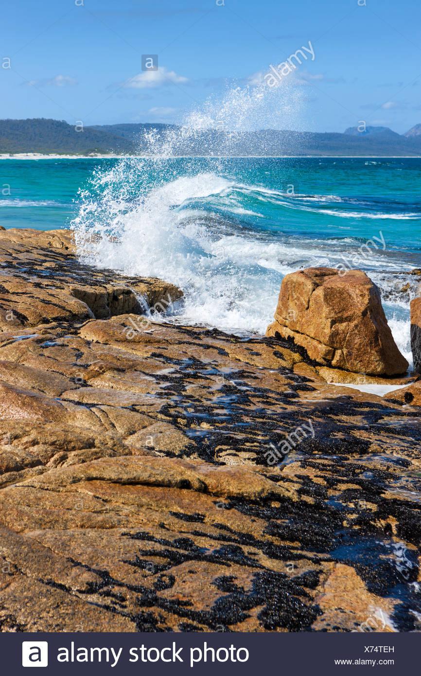Strände, Australien, Tasmanien, Ostküste, Meer, Küste, Wellen, Felsen, Klippen, Stockbild
