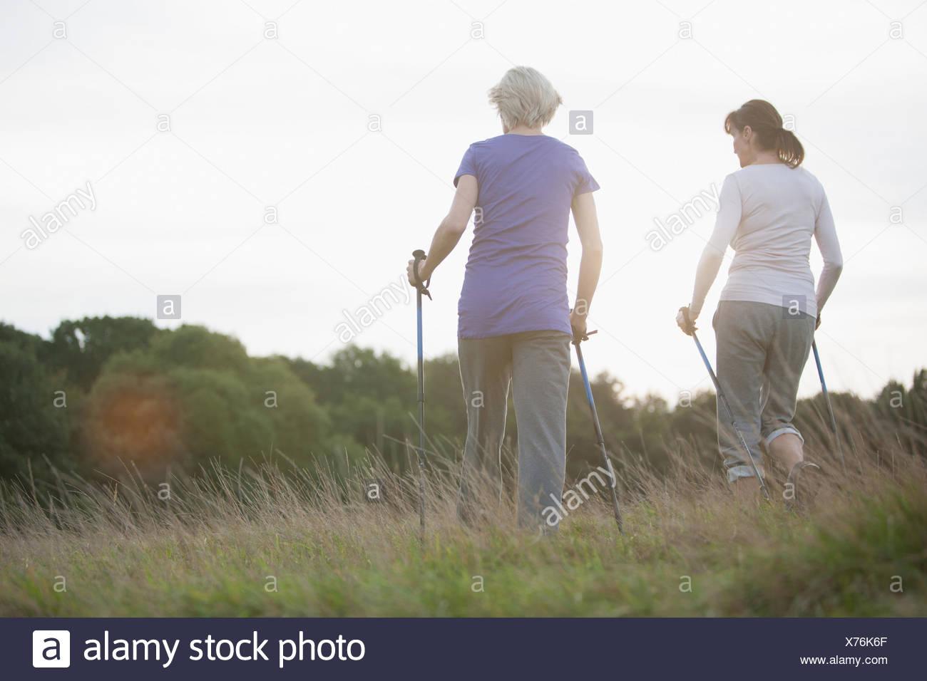 Frauen wandern gemeinsam im freien Stockbild