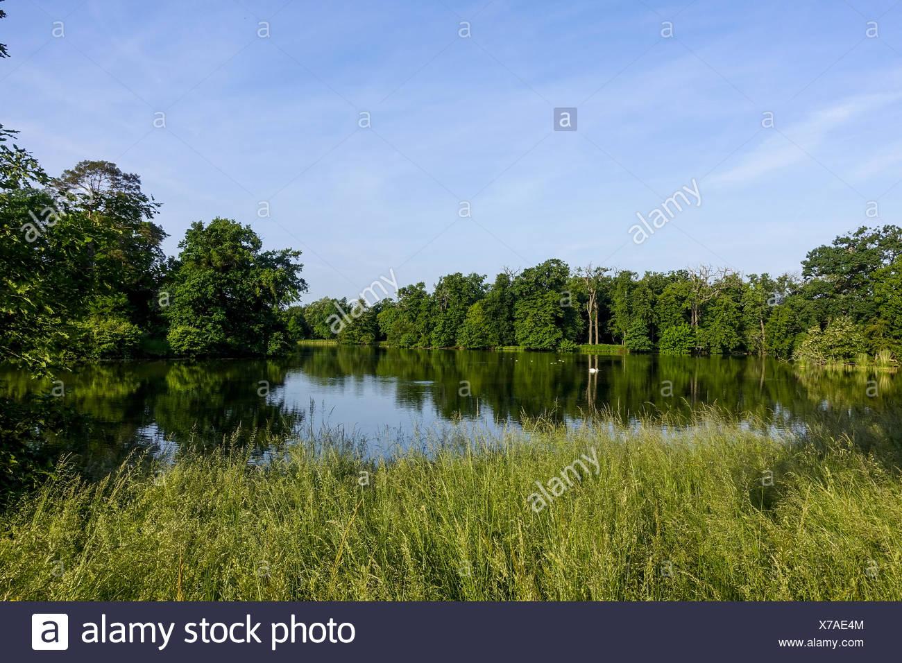 Landschaftsgarten, UNESCO Weltkulturerbe, Lednice, Kreis Breclav, Südmähren, stilsicheren Stockbild