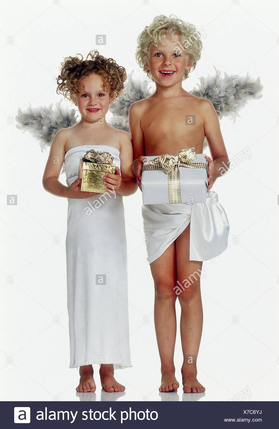Junge, Mädchen, Engel, Weihnachtsgeschenke, Weihnachten, Weihnachten ...