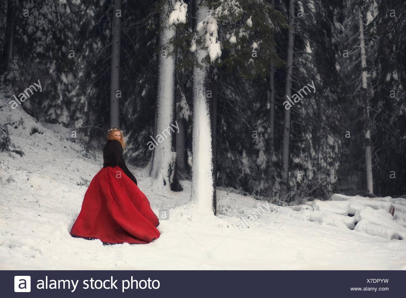 Frau im roten Kleid im schneebedeckten Wald Stockbild