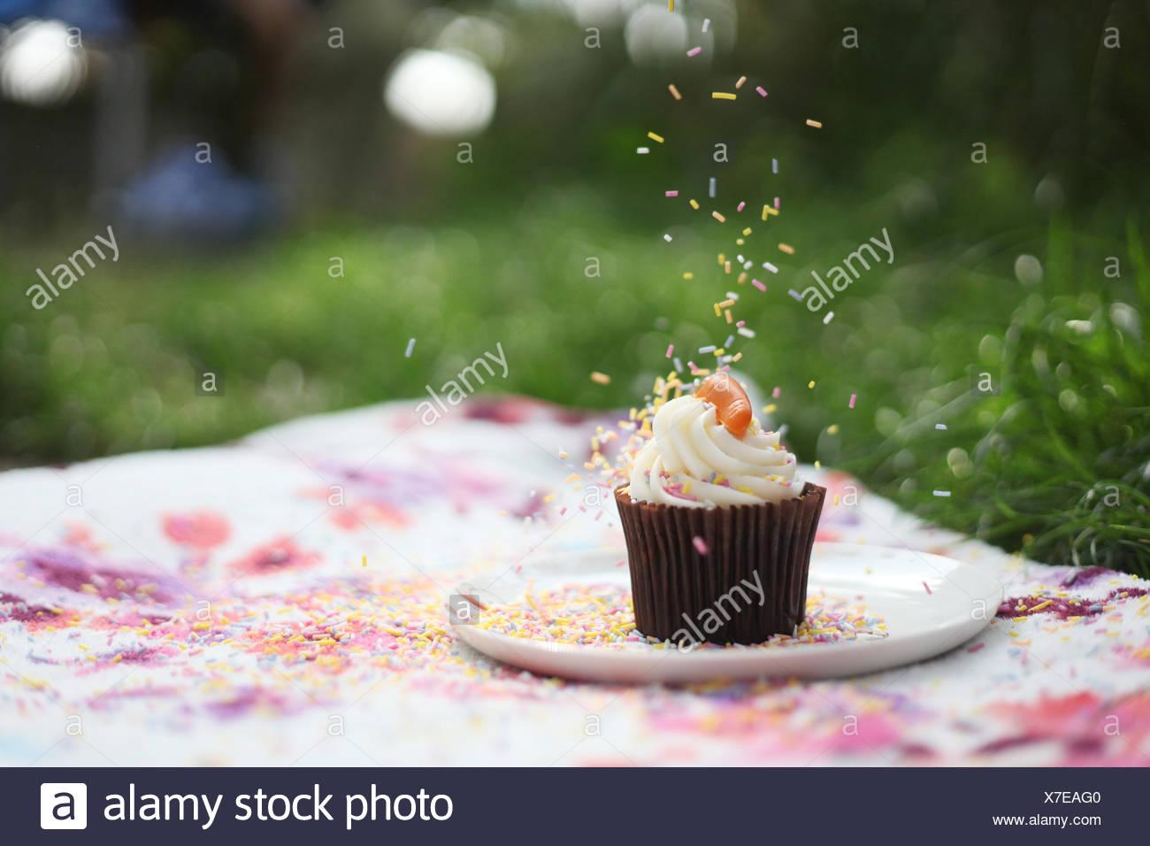 Prise Streusel auf Cupcake bei Picknick Stockbild