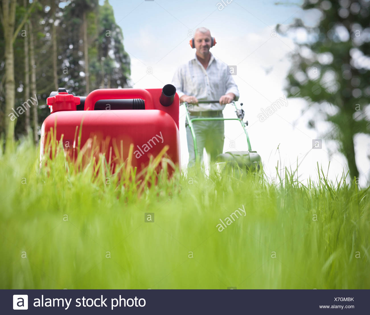 Kanister Benzin auf Rasenfläche Stockbild