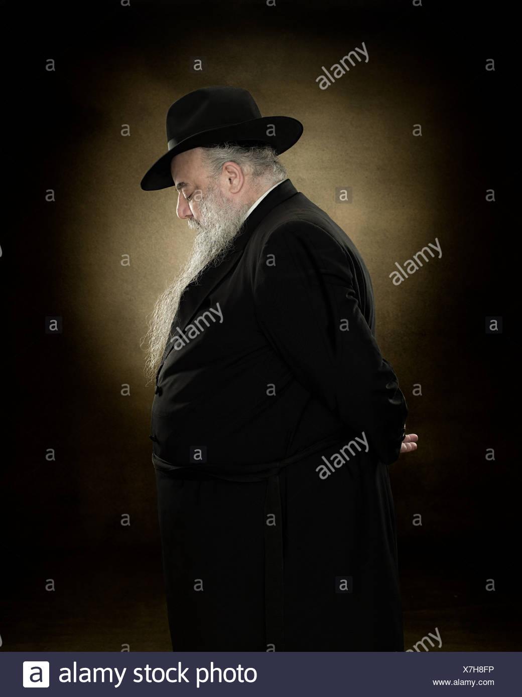 Profil von einem rabbi Stockbild