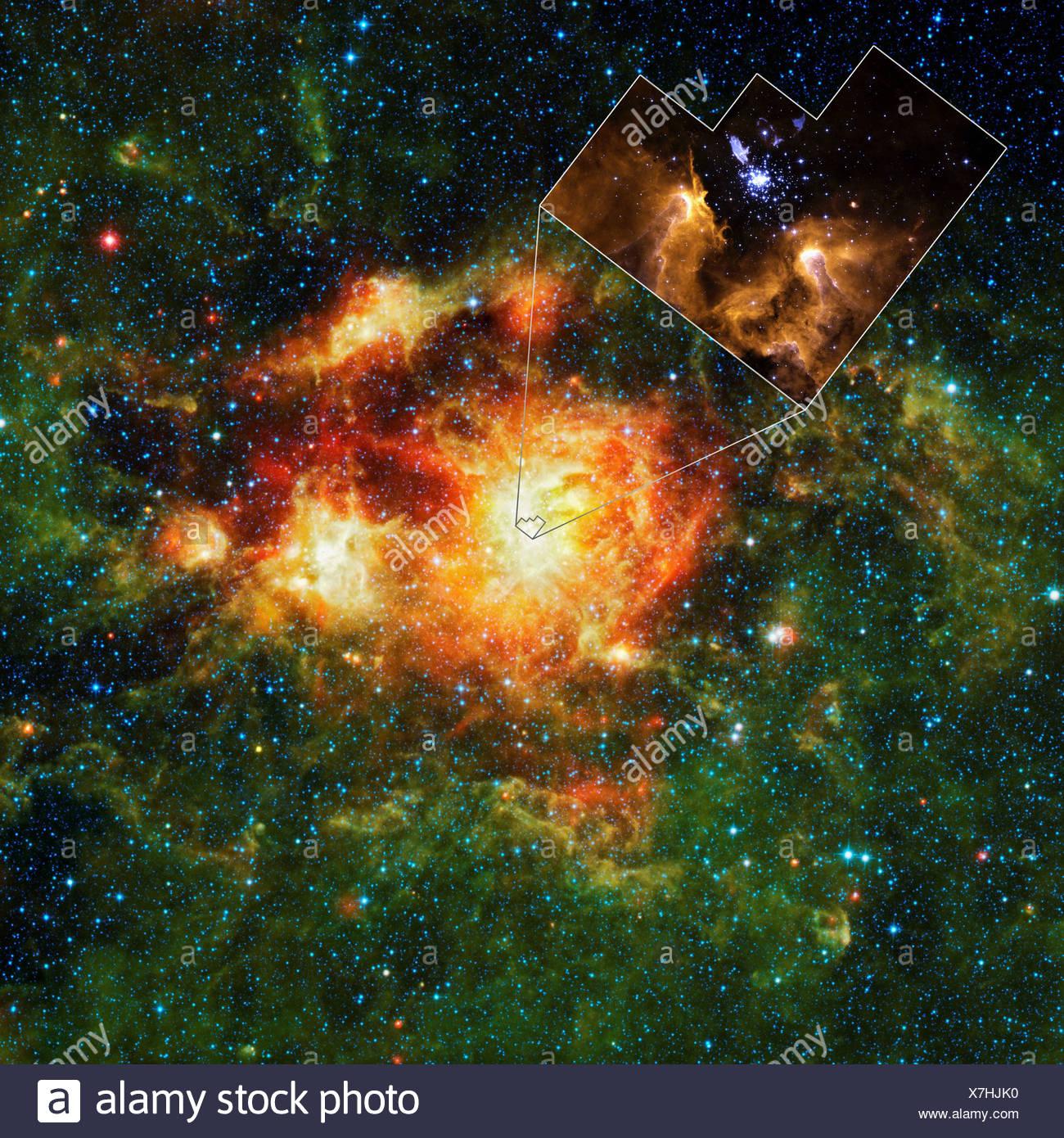 WISE und Hubble-Aufnahmen von NGC 3603 Stockbild
