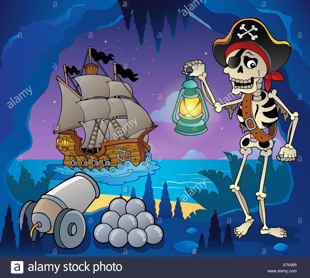 Pirate Cove Thema Bild 6 - Bild-Darstellung. Stockbild