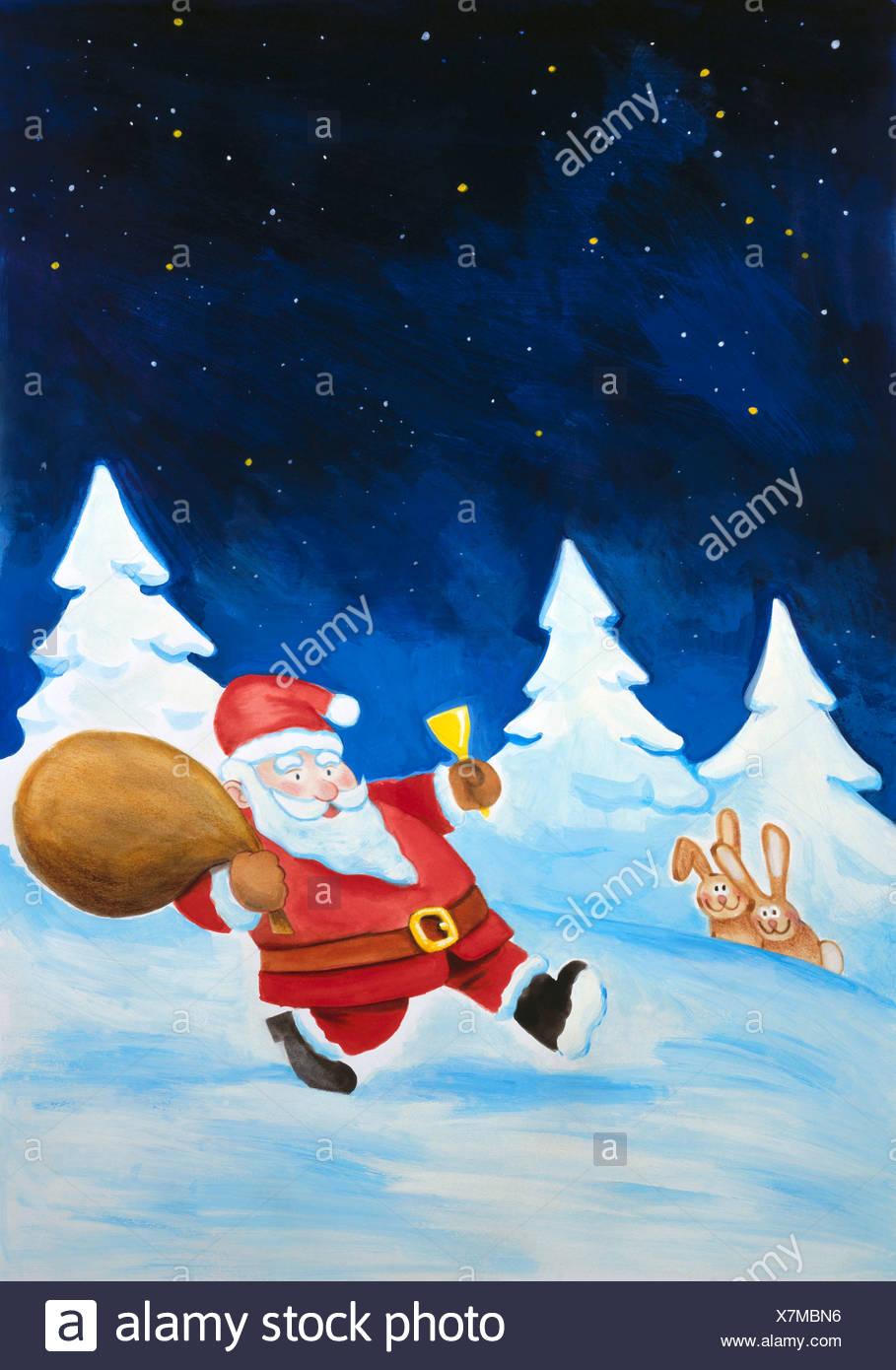 Der Weihnachtsmann bringt Geschenke, Abbildung Stockbild