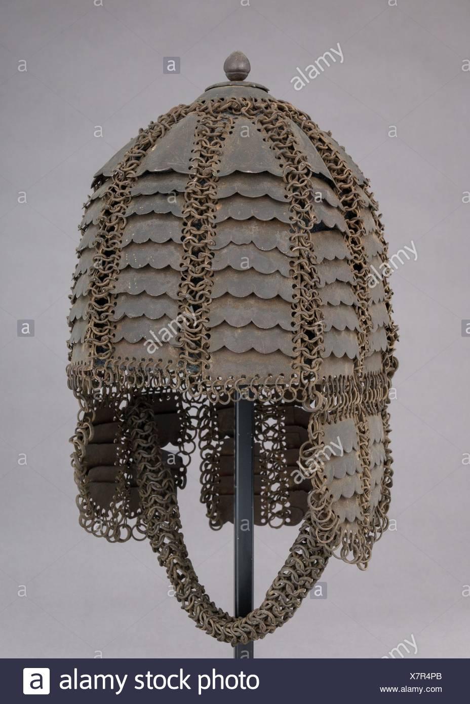 Helm von Mail und Platte. Datum: voraussichtlich 17.-18.Jahrhundert; Kultur: Indische; Medium: Stahl; Abmessungen: H.13 cm. (34,9 cm); W. 8 3/4 in. (22.2 Stockbild