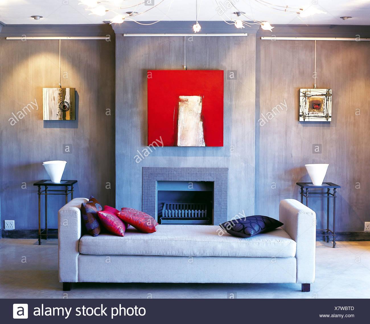 Wohnzimmer Schiefer grau gefärbt, Wände, leicht graue liege rosa und ...