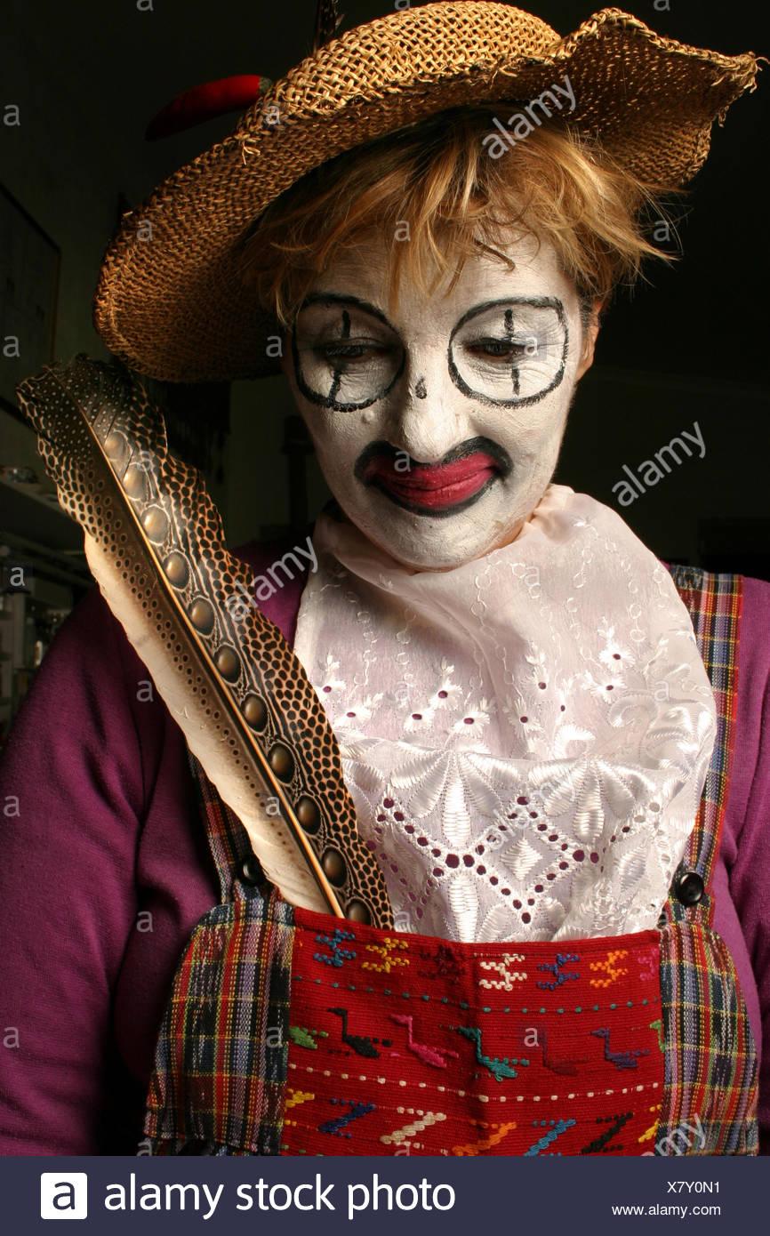 Bild der Clown auf der Suche nach unten Stockbild
