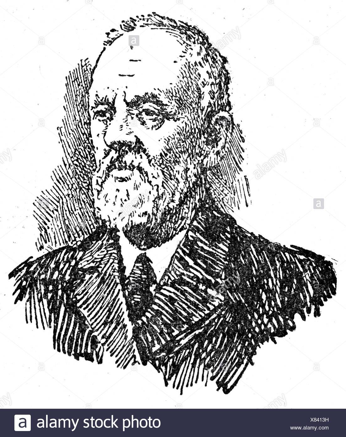 Tsiolkovsky, Konstantin Eduardovich, 17.9.1857 - 19.9.1935, russischer Wissenschaftler (Physiker, Mathematikwissenschaftler), Porträt, Holzschnitt, Stockfoto