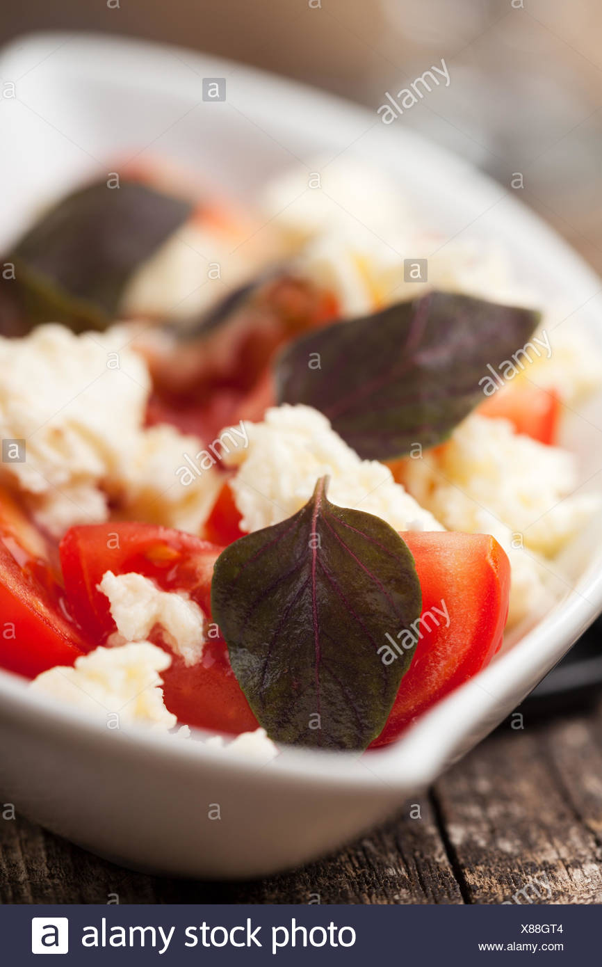 lila, Basilikum, Vorspeise, Salat, Restaurant, Lebensmittel, Nahrungsmittel, Makro, Nahaufnahme, Stockfoto