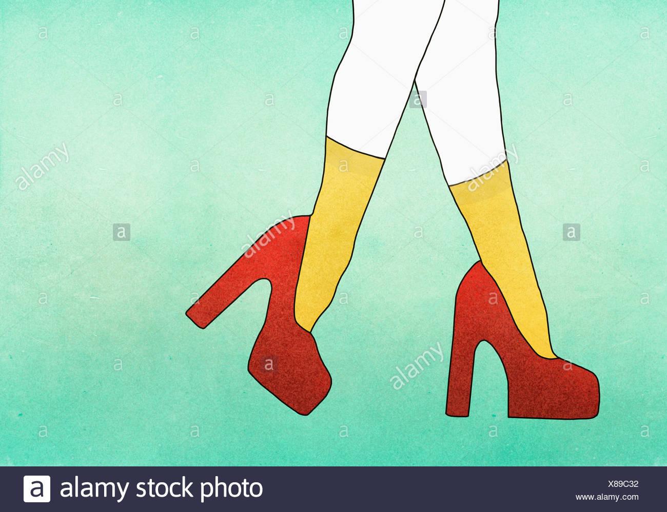 Roten Bild Der Heels Tragen Anschauliches Frau Das High Gegen H2We9EDIY