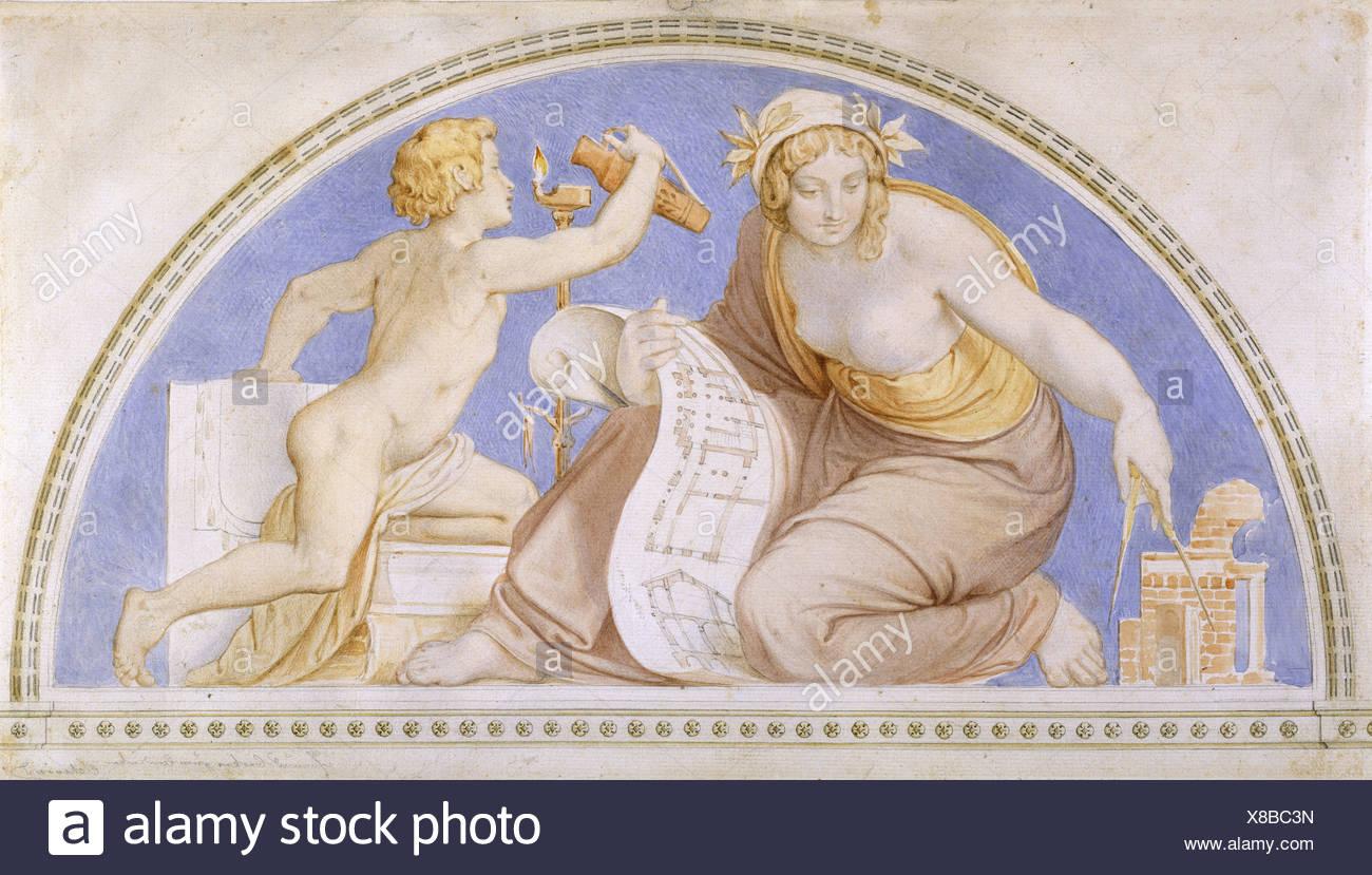 """ÜF, Kunst, Schwind, Moritz von (1804-1871), Gemälde, Lünette """"Mathematik"""", Aquarell, um 1840, Staatliche Kunsthalle Karlsruh Stockbild"""